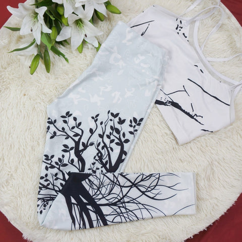 Image of Women's Sexy Printed Tree Design Fitness Yoga Leggings + Dry Fit Gym Pants