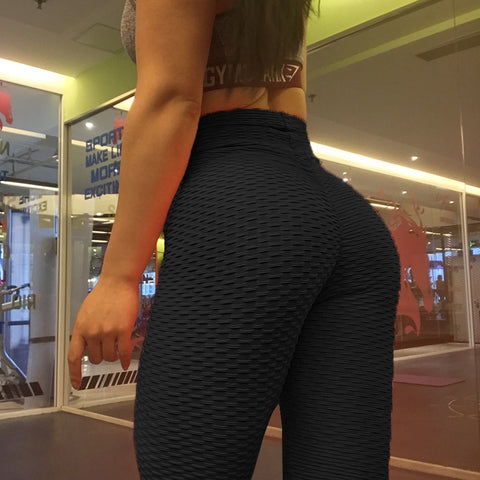 Image of Women's High Waist Anti-Cellulite Scrunch Back Capri Sport Fitness Workout Activewear Leggings