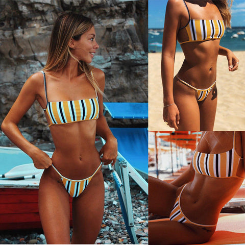 Image of Sexy Brazilian Push Up Padded + Thong Bikini Swimsuit Swimwear Beachwear Set