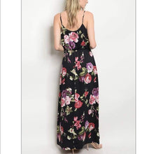 Load image into Gallery viewer, Black Floral Maxi Dress - Dress