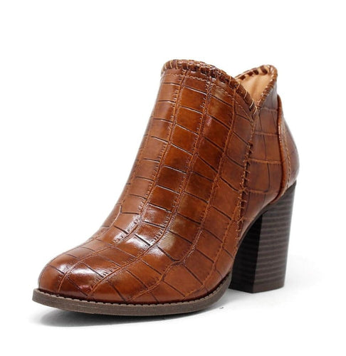 Celeste Tan Crocodile Ankle Booties - Shoes
