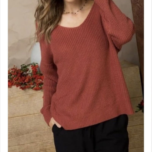 Cozy Twist Back Sweater - Top