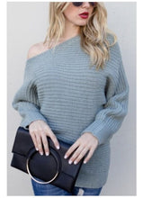 Load image into Gallery viewer, Dusty Mint Off Shoulder Knit Sweater - Top