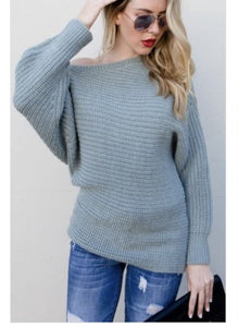 Dusty Mint Off Shoulder Knit Sweater - Top