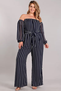 Excuse Me Miss Plus Size Stripe Jumpsuit - Jumpsuit/Romper