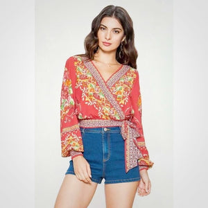 Little Miss Bohemian Red Crop Top - Top