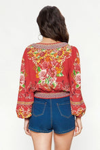 Load image into Gallery viewer, Little Miss Bohemian Red Crop Top - Top