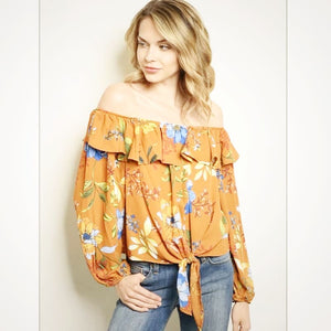Mocha Orange Dream Ruffle Top - Top