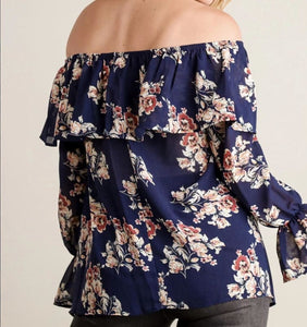 Off Shoulder Chiffon Floral Top