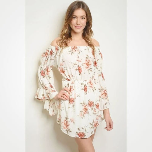 Off Shoulder Floral Dress - Dress