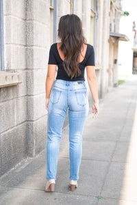 Plaid Patch Straight Leg Jeans - Jeans