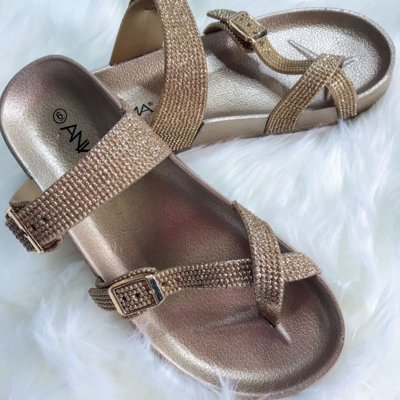 Razzle Dazzle Rhinestone Sandals - Shoes
