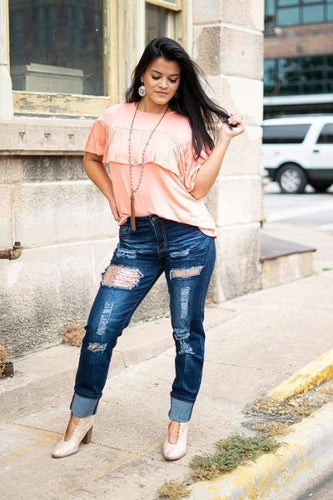 Rose Gold Sequin Boyfriend Jean - Jeans