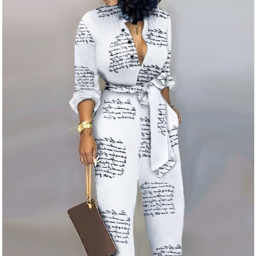 Shes So Chic & Casual Knotted Jumpsuit-Letter Print - Jumpsuit/Romper