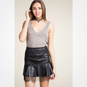 Short and Sassy Faux Leather Skirt - Skirt