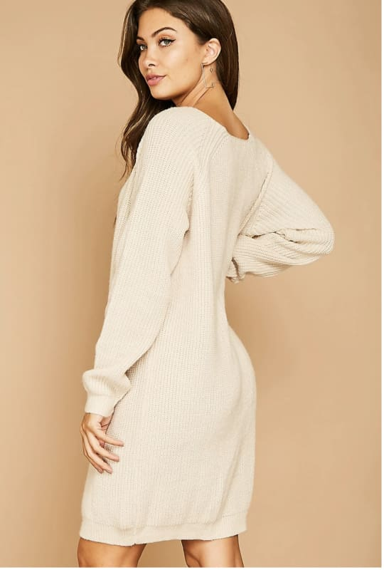 Solid Midi Knit Dress - Dress