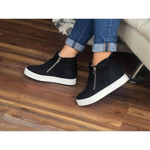 Taylor Black Hidden Wedge Sneakers - Shoes