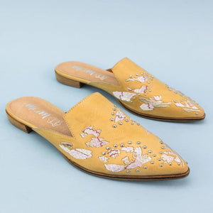 The Miranda Embroidered Mules - 6 / Yellow - Shoes