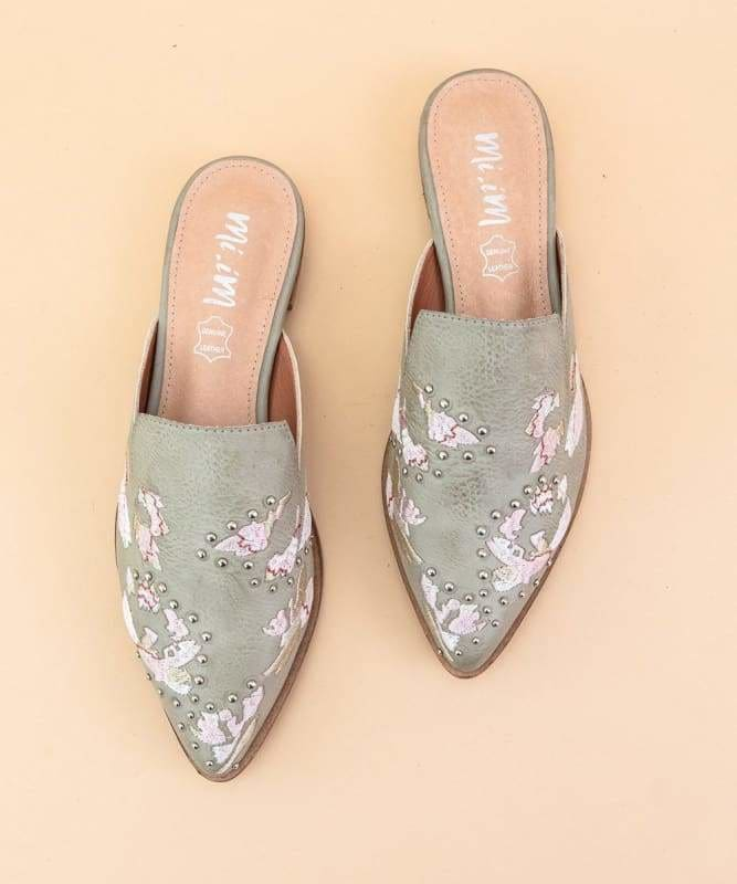 The Miranda Embroidered Mules Mint Grey - 6 / Mint Grey - Shoes