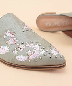 The Miranda Embroidered Mules Mint Grey - Shoes