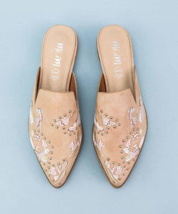 The Miranda Embroidered Mules Rose - 10 / Rose - Shoes