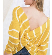 Load image into Gallery viewer, White and Black Twist Knot Sweater - Top