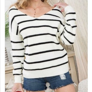 White and Black Twist Knot Sweater - Top