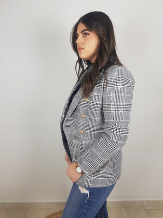 VESTE BLAZER EN TWEED ET SEQUIN