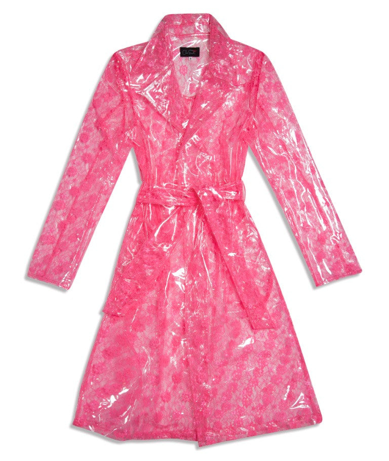 Clear PVC with Pink Lace Pencil Trench