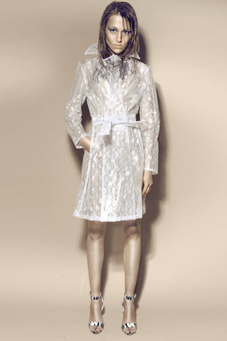 Clear PVC with White Lace Pencil Trench