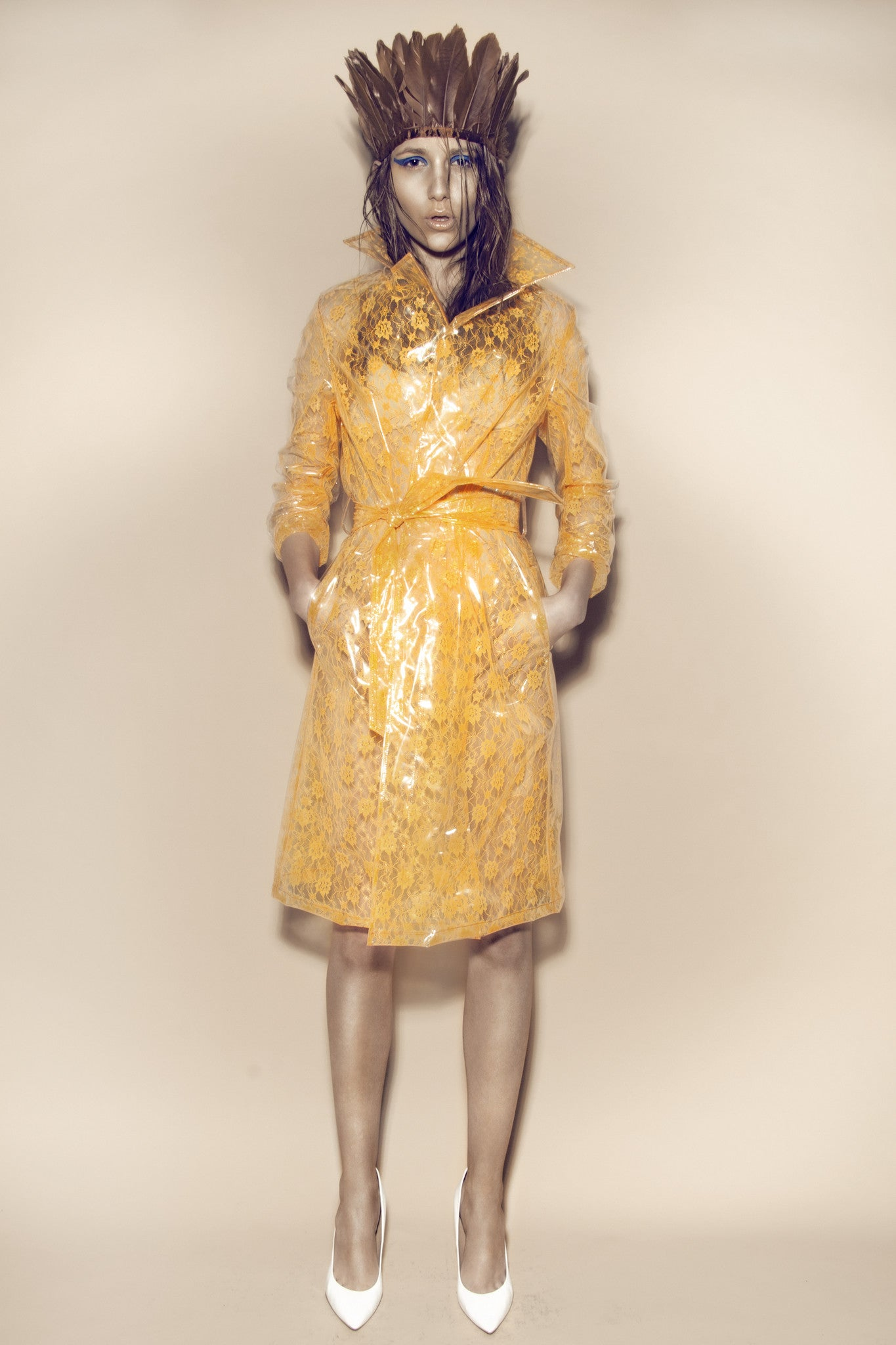 Clear PVC with Orange Lace Pencil Trench
