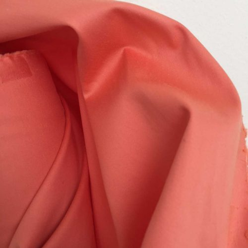 Stretch Cotton Satin. Beautiful summery stretch cotton satin with a fluid drape in coral. Premium quality  fabric made in Germany by Zuleeg.