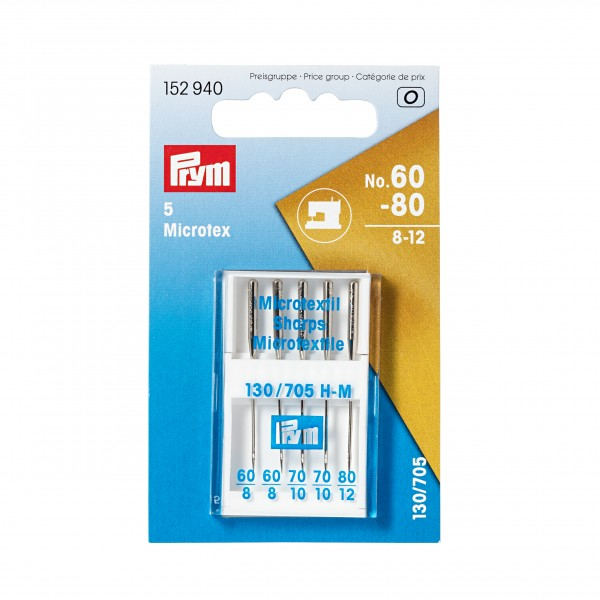 Prym Microtex Sewing Machine Needles, Assorted, Pack of 5