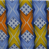 African print fabric, Geometric Blue, Yellow and Orange Ankara Print, African fabric by the metre