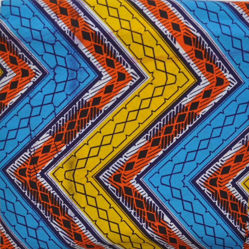 African print fabric, Geometric Zigzag Blue, Yellow and Orange Ankara Print, African fabric by the metre