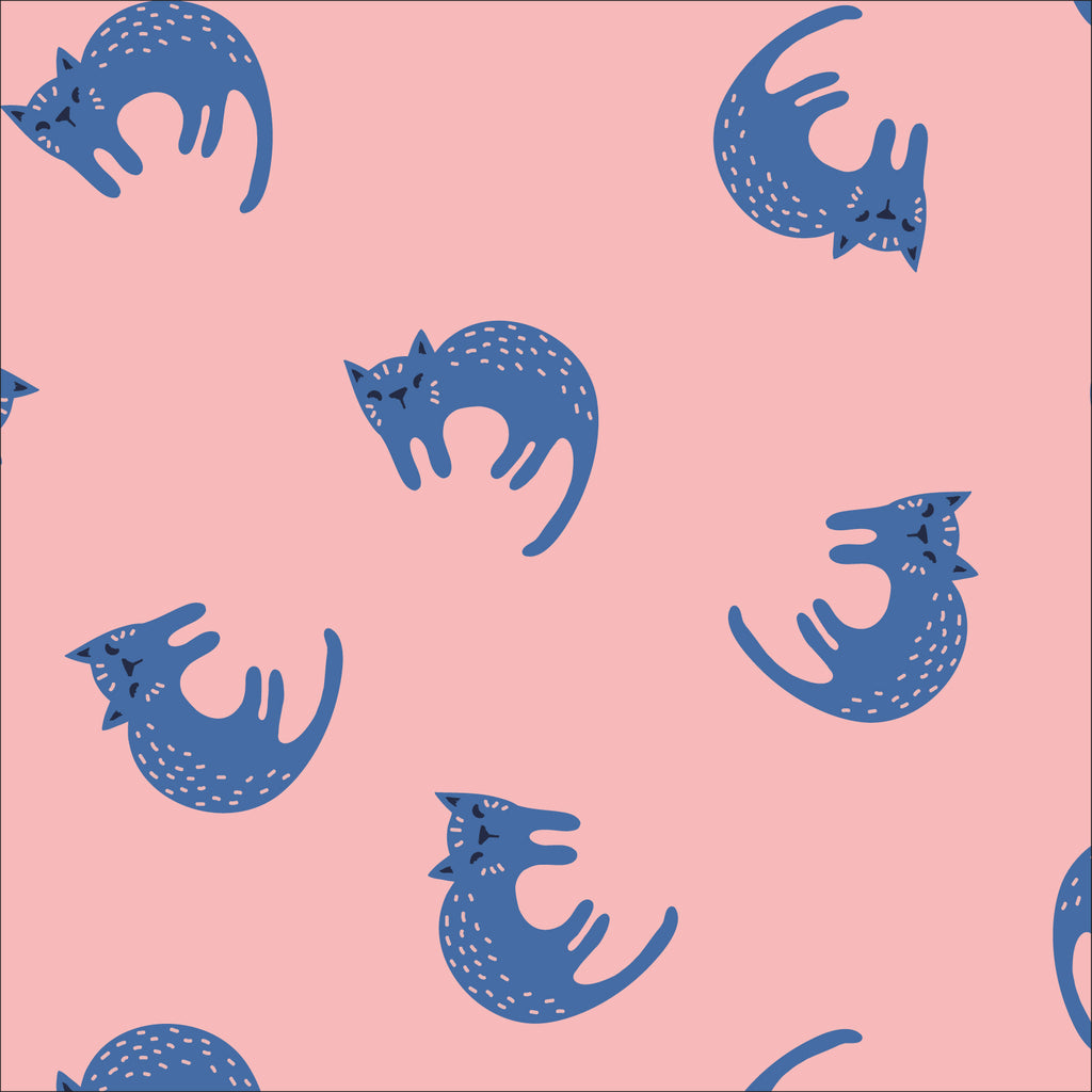 Sweet Cats - Laminated organic cotton by Cloud 9 Fabrics with cats on pink background. Laminates are perfect for rain jackets, bibs, art smocks and more.