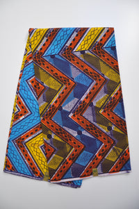 African Print – Blue, Yellow and Orange Zigzag Geometric Design – 1 Metre