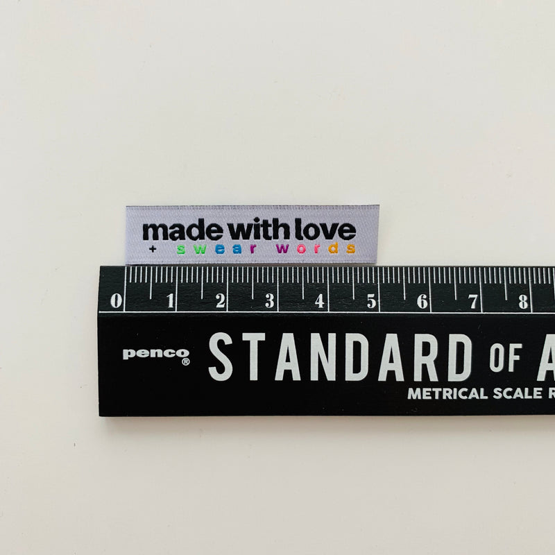 MADE WITH LOVE AND SWEAR WORDS - Pack of 8 Woven Labels