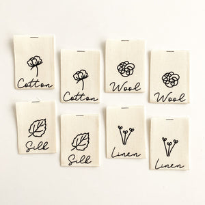 NATURAL FIBRES COLLECTION - Pack of 8 Woven Cotton Labels