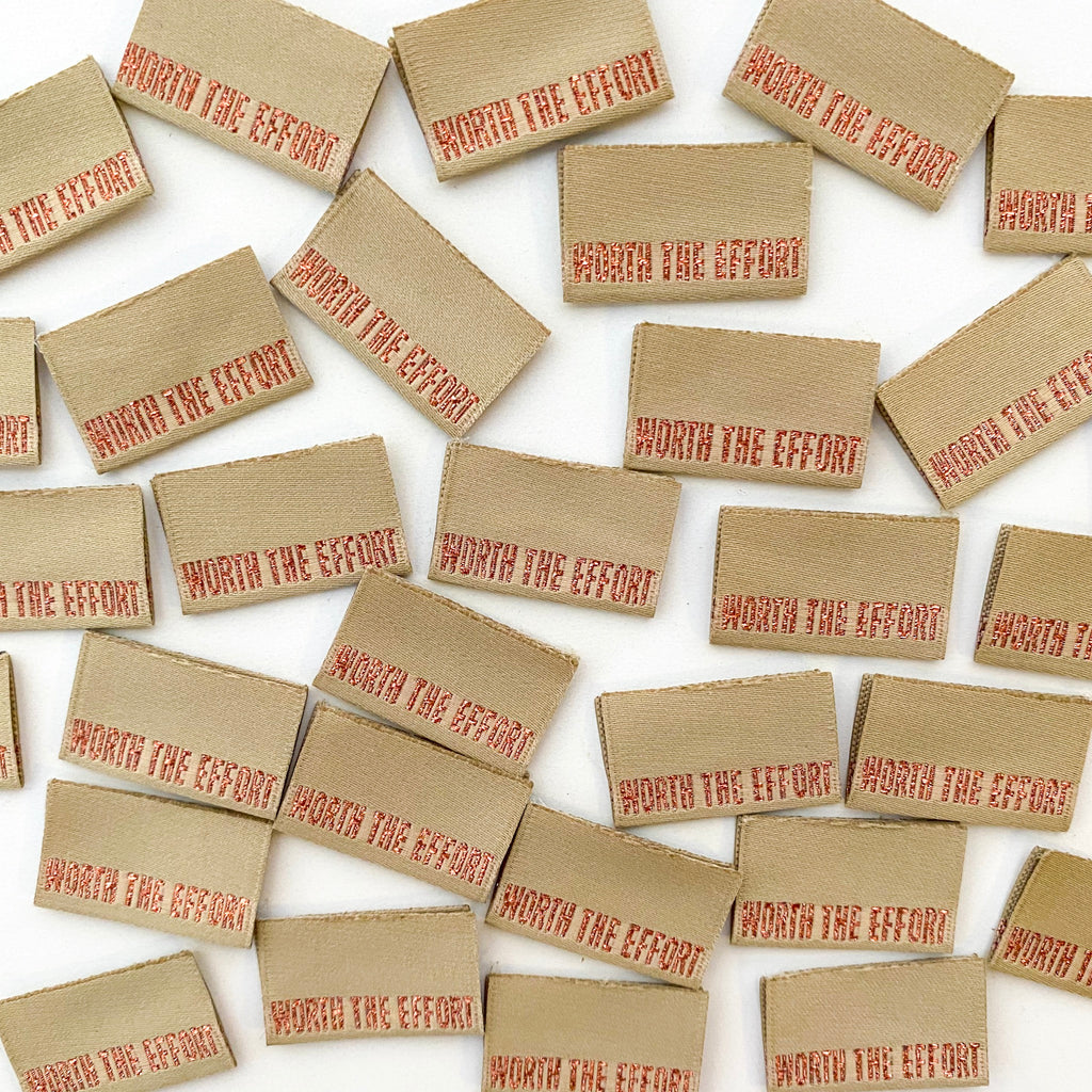 WORTH THE EFFORT - Pack of 8 Woven Labels