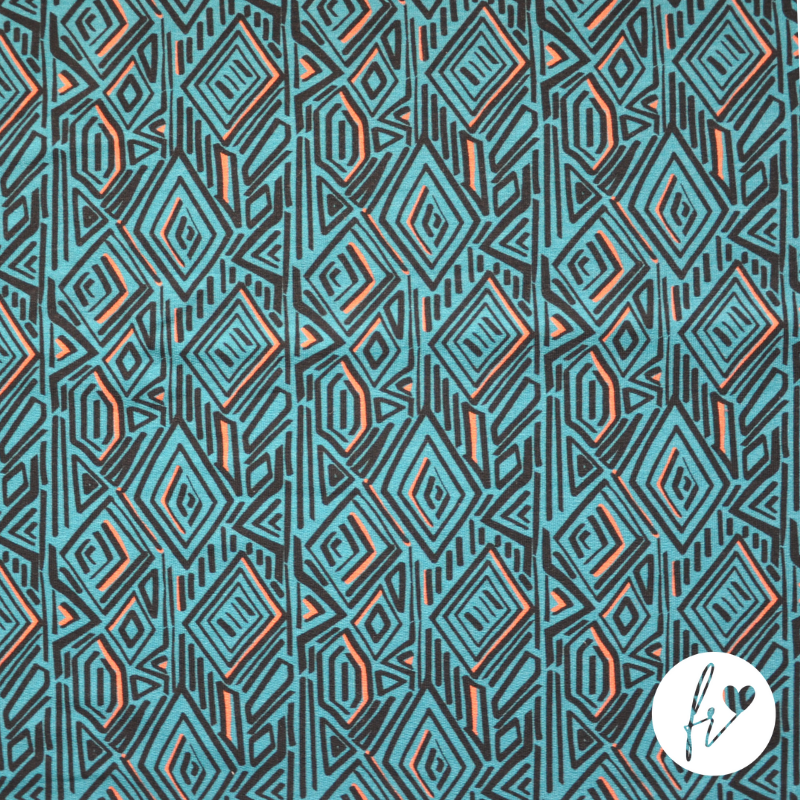 Beautifully soft French Terry Sweatshirting fabric with added Modal. Geometric pattern in teal.