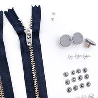 Jeans Hardware Kit - Black Zipper / Pewter Hardware - Kylie and the Machine