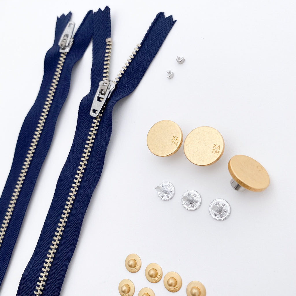 Jeans Hardware Kit - Navy Zipper / Gold Hardware - Kylie and the Machine