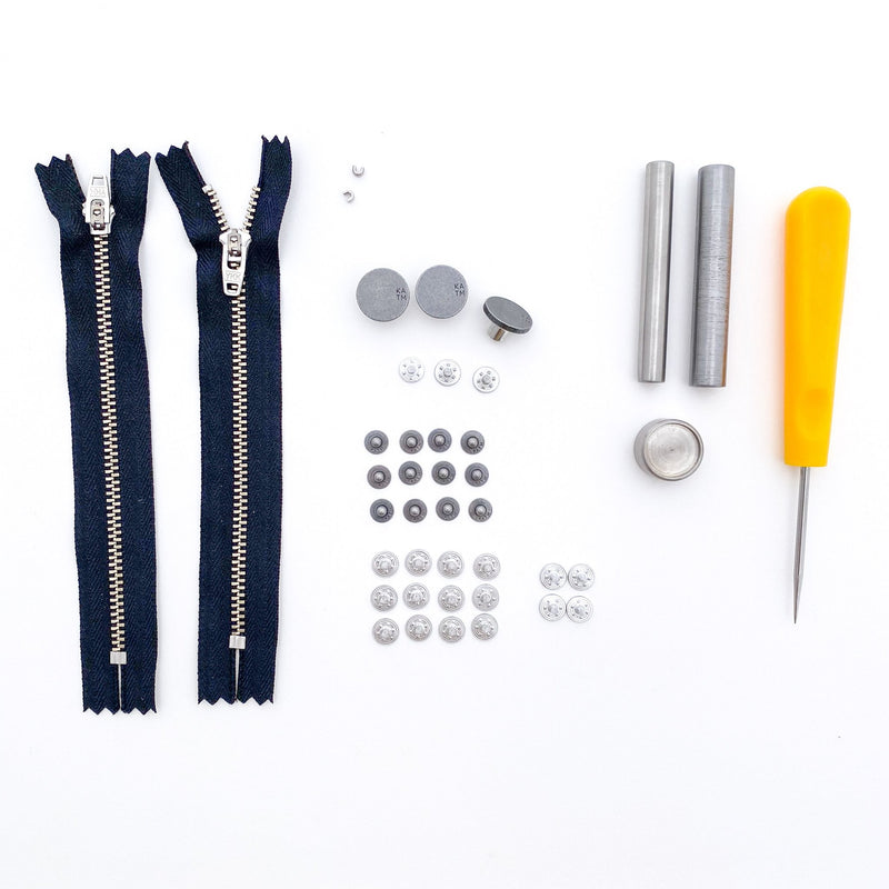 Jeans Hardware Kit - Navy Zipper / Pewter Hardware - Kylie and the Machine