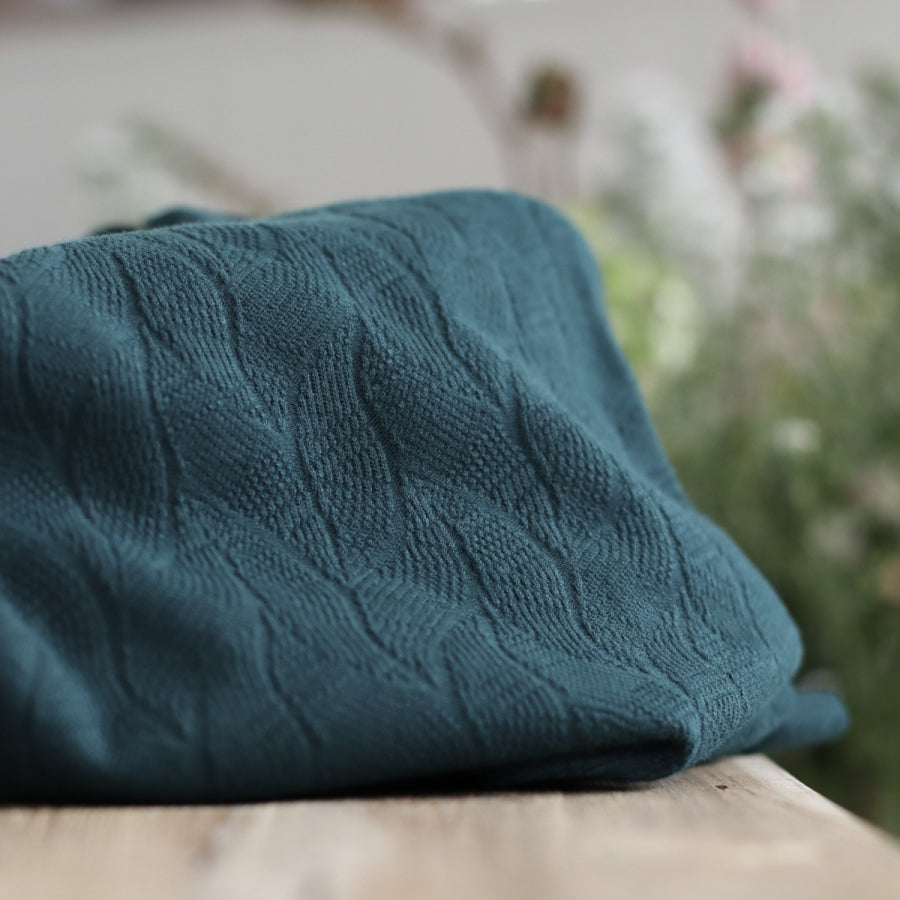 Organic Leaf Jacquard - Bottle Green - 0.5 metre