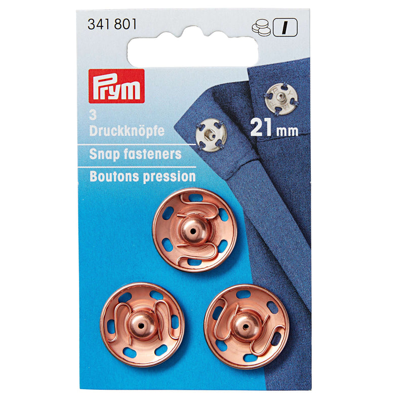 Prym Sew-on Snap Fasteners - Rose Gold - 21mm