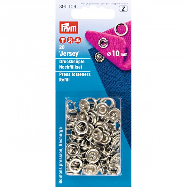 Prym Press Fasteners Jersey Refill Pack - Silver - 10mm