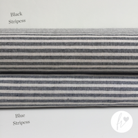 Woven Recycled Eco-Fabric - Stripes - Black & Blue