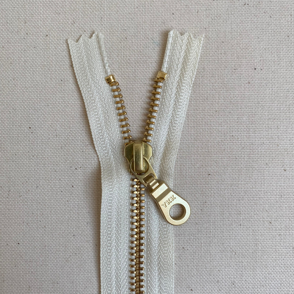 YKK No. 5 Gold Brass Metal Zip with NATULON® Recycled Tape - Closed End - VANILLA