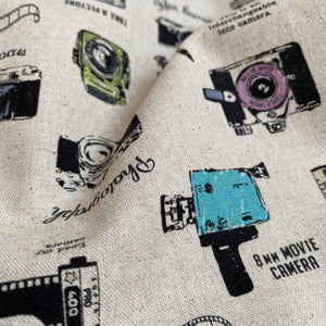 Japanese Cotton Linen - Vintage Cameras - Natural - 0.5 metre